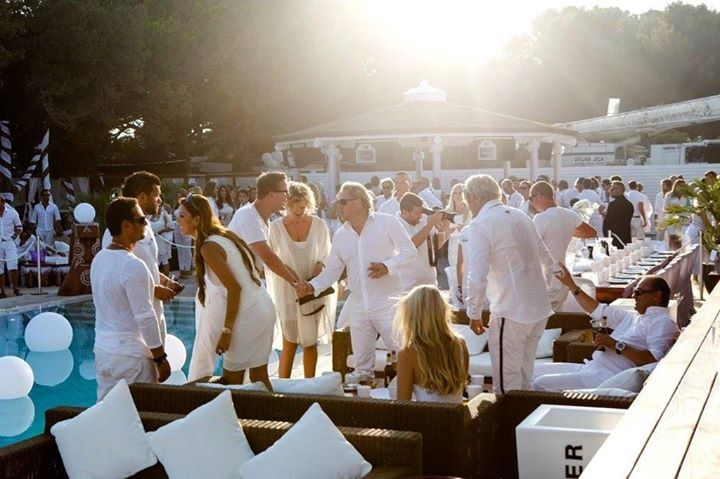 white pool party