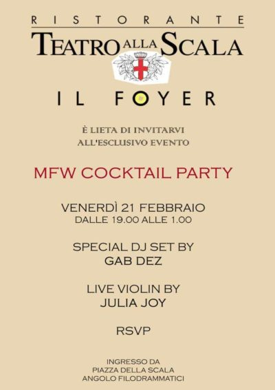 mfw cocktail party il foyer milano