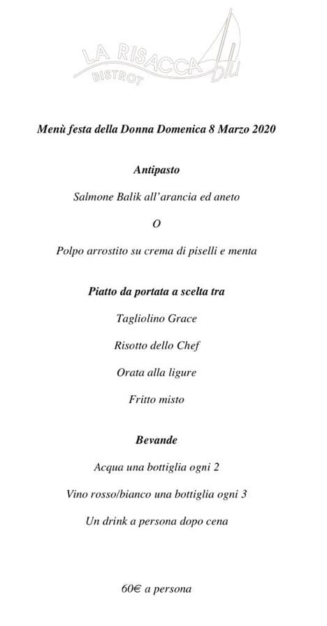 festa della donna menu risacca bistrot restaurant