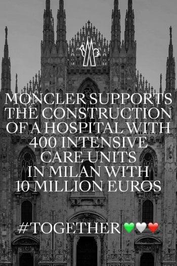 covid19 moncler dona 10 milioni