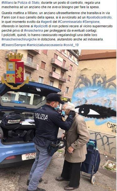 polizia regala mascherina ad anziano