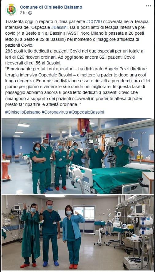 emergenza finita terapia intensiva coronavirus